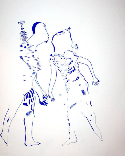 Dinka People Drawing - Dinka Courtship - South Sudan by Gloria Ssali