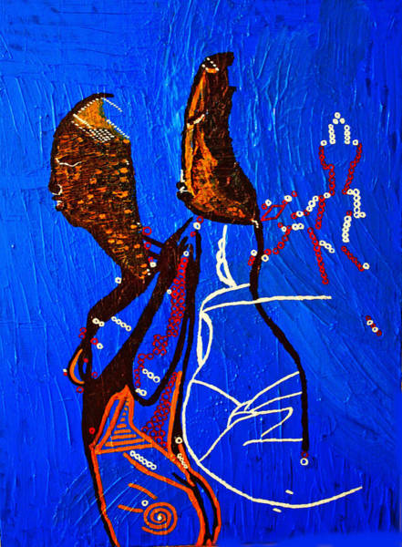 Dinka People Painting - Dinka Embrace - South Sudan by Gloria Ssali