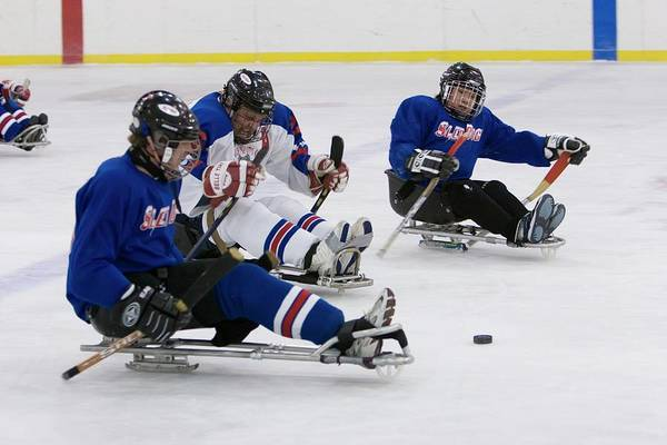 Skater Photograph - Disabled Ice Hockey by Jim West