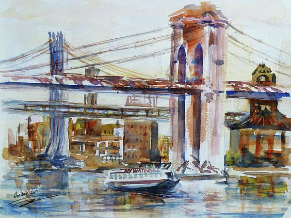 Painting - Downtown Bridge by Xueling Zou
