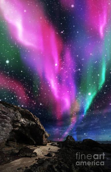 Illuminated Digital Art - Dramatic Aurora by Atiketta Sangasaeng