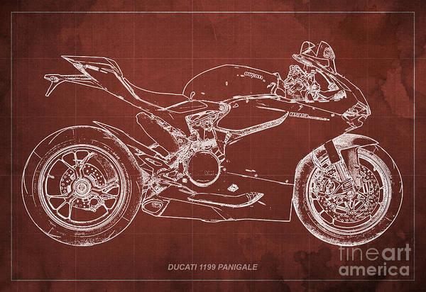 Blueprint Digital Art - Ducati 1199 Panigale Blueprint by Drawspots Illustrations