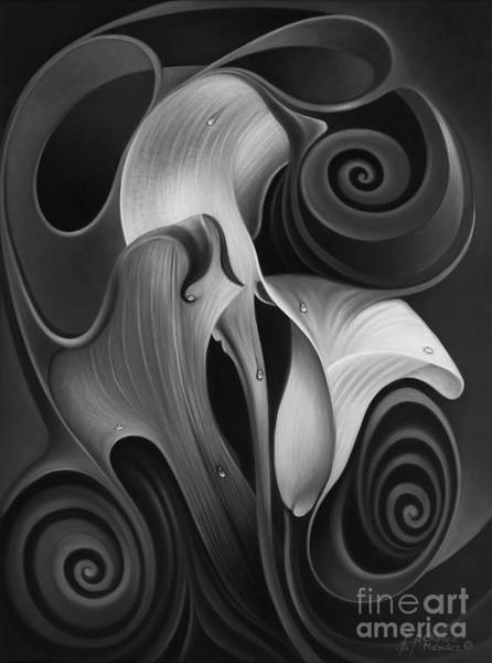 Wall Art - Painting - Dynamic Floral 4 Cala Lilies by Ricardo Chavez-Mendez