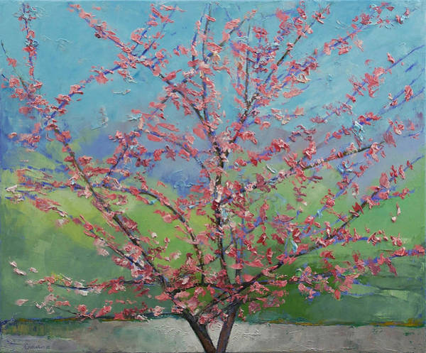 Cherry Tree Painting - Eastern Redbud Tree by Michael Creese