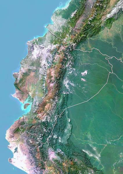 Landsat 7 Wall Art - Photograph - Ecuador by Planetobserver/science Photo Library
