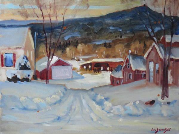 Barn Snow Painting - Eddie's by Len Stomski