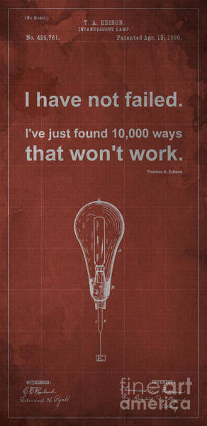 Patent Drawing - Edison Quote Incandescent Lamp Patent Blueprint by Drawspots Illustrations