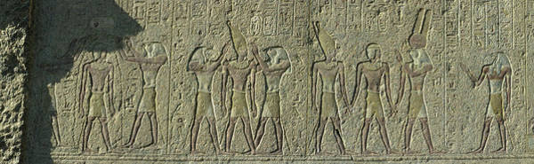 Hieroglyph Photograph - Egyptian Hieroglyphs On The Wall by Panoramic Images