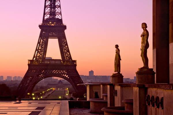 Photograph - Eiffel Tower At Dawn / Paris by Barry O Carroll