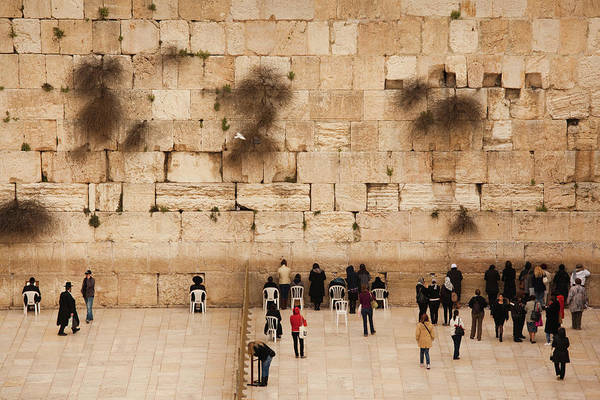 Wall Art - Photograph - Elevated View Of The Western Wall Plaza by Panoramic Images