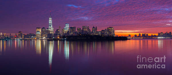 Lower Manhattan Photograph - Ellis Island Silhouette Sunrise by Michael Ver Sprill