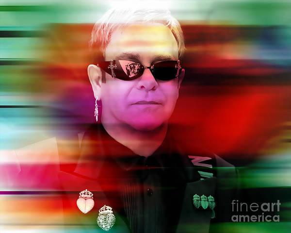 Wall Art - Mixed Media - Elton John by Marvin Blaine