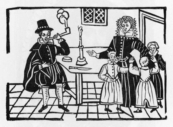 Wall Art - Drawing - Family Alarmed By Sight Of  Father by Mary Evans Picture Library