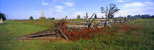 Battle Field Photograph - Fence At Gettysburg National Military by Panoramic Images