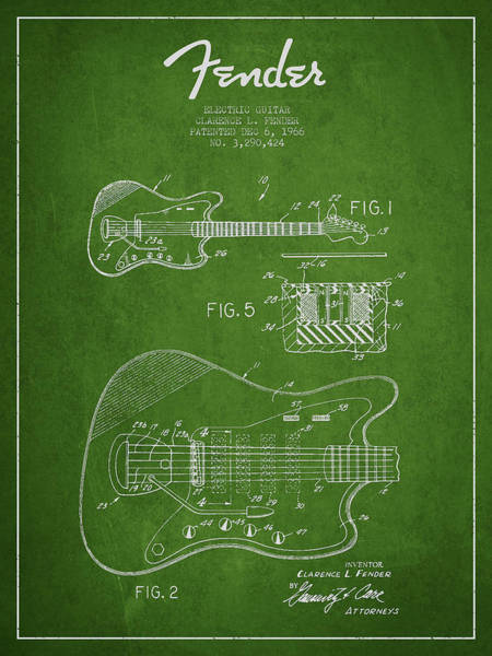 Wall Art - Digital Art - Fender Electric Guitar Patent Drawing From 1966 by Aged Pixel