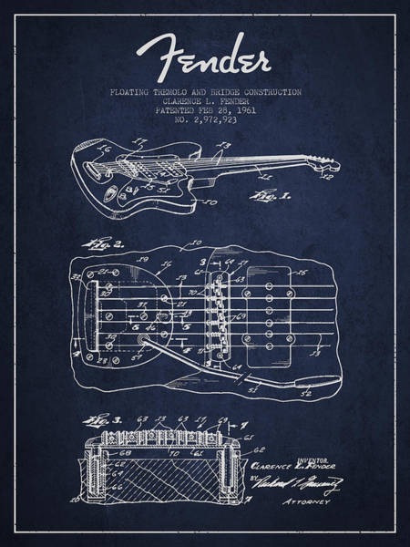 Wall Art - Digital Art - Fender Floating Tremolo Patent Drawing From 1961 - Navy Blue by Aged Pixel