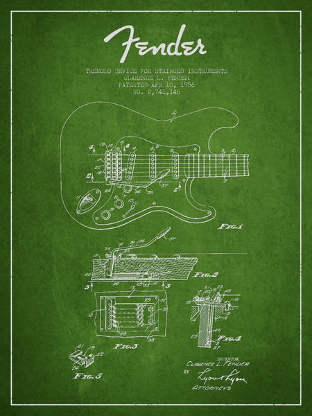 Acoustic Bass Wall Art - Digital Art - Fender Tremolo Device Patent Drawing From 1956 by Aged Pixel