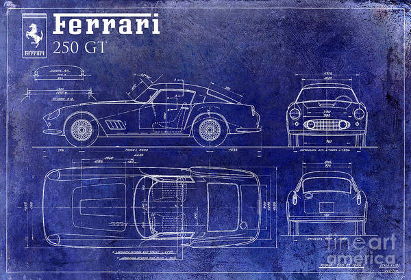 Vintage Car Drawing - Ferrari 250 Gt Blueprint by Jon Neidert