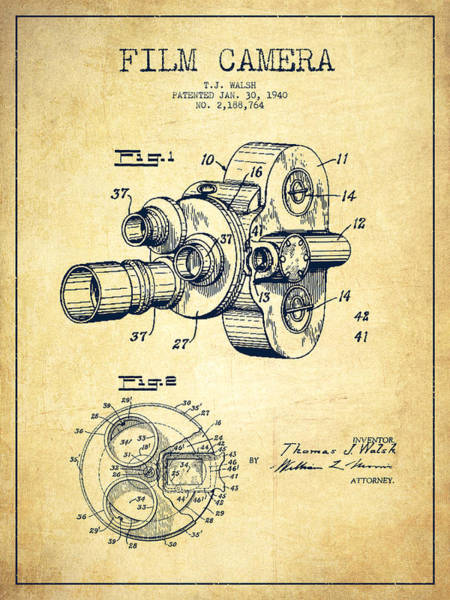 Camera Wall Art - Digital Art - Film Camera Patent Drawing From 1938 by Aged Pixel