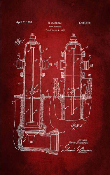 Fire Station Wall Art - Digital Art - Fire Hydrant Patent 1931 by Patricia Lintner