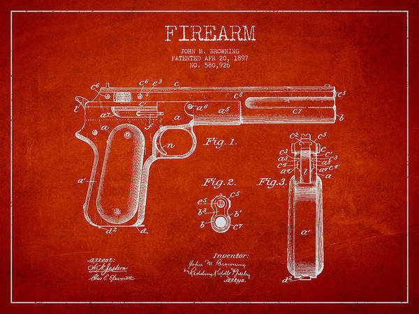 Shooting Digital Art - Firearm Patent Drawing From 1897 by Aged Pixel