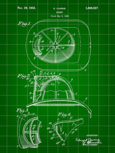Serve Digital Art - Firefighter's Helmet Patent 1932 - Green by Stephen Younts