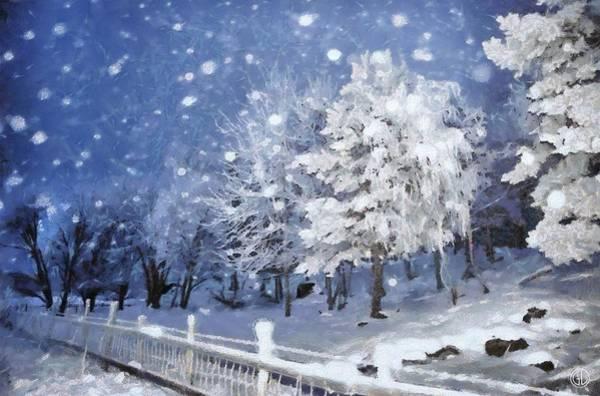 Snow Fence Digital Art - First Snow by Gun Legler