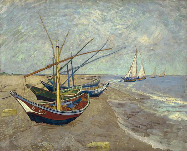 Painting - Fishing Boats On The Beach At Les Saintes-maries-de-la-mer by Vincent van Gogh