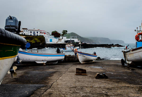 Fishing Boats On Wharf With View Of Houses  Art Print