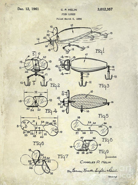 1961 Fishing Lures Patent Drawing  Art Print