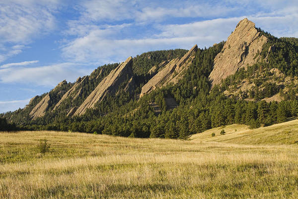 Photograph - Flatirons With Golden Grass Boulder Colorado by James BO Insogna