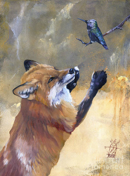Painting - Fox Dances For Hummingbird by J W Baker
