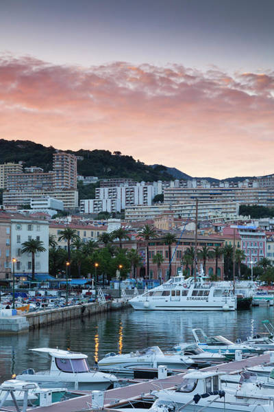 Port City Photograph - France, Corsica, Ajaccio, City View by Walter Bibikow