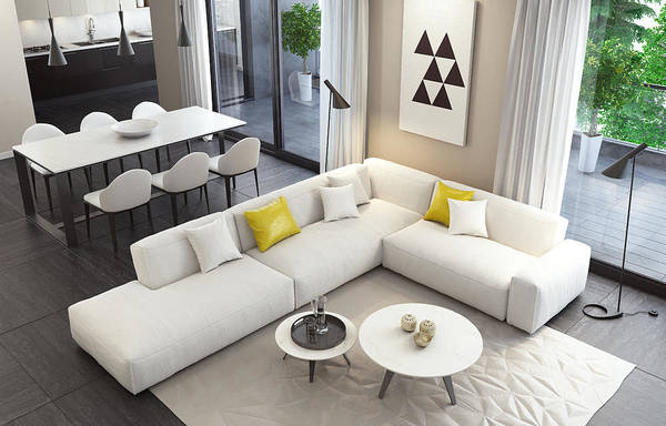 Fresh And Modern White Style Living Room Interior Art Print by Tulcarion