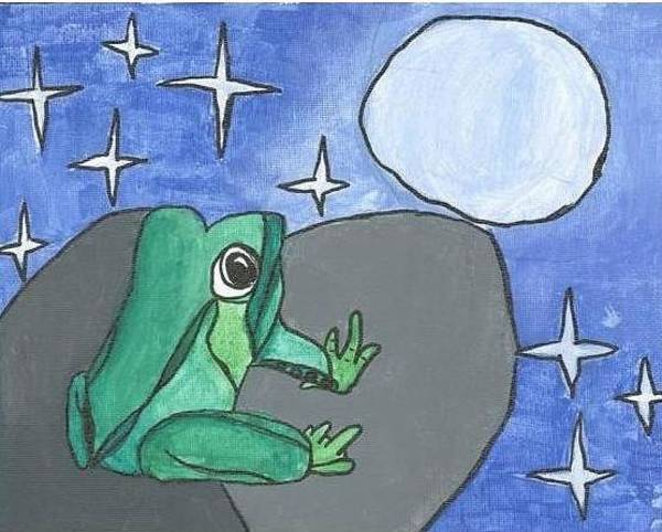 Painting - Frog In The Moonlight by Fred Hanna