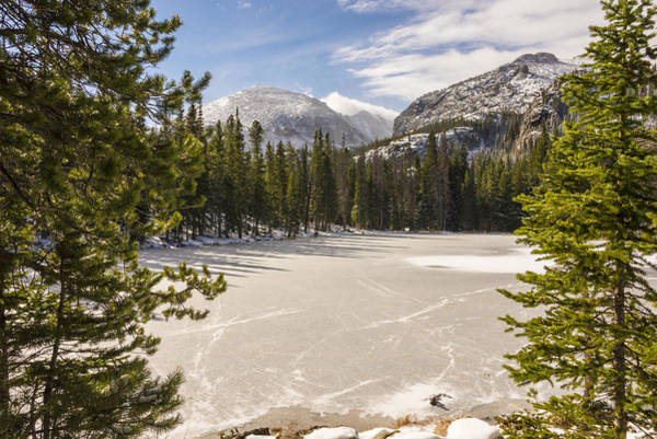 Jagged Photograph - Frozen Nymph Lake - Rocky Mountain National Park Estes Park Colorado by Brian Harig
