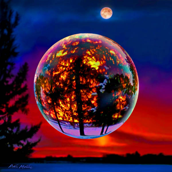 Scene Digital Art - Full Moon Over New Richmond Sunset by Robin Moline