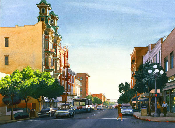 City Scene Painting - Gaslamp Quarter San Diego by Mary Helmreich