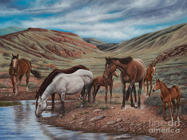 Quarter Horse Painting - Gathering At Diablo Canyon by Ricardo Chavez-Mendez
