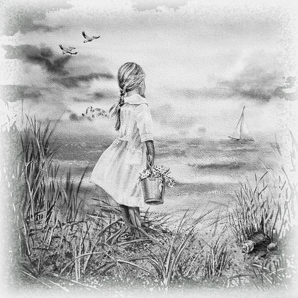 Wall Art - Painting - Girl And The Ocean by Irina Sztukowski