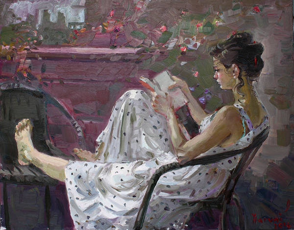 Wall Art - Painting - Girl Reading by Ylli Haruni