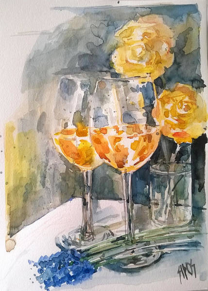 Painting - 2 Glasses Of Rose Wine With Roses by Lorand Sipos