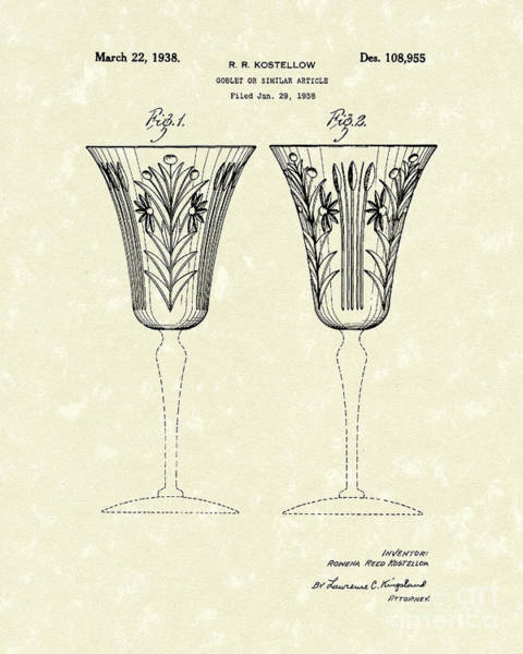 Goblets Wall Art - Drawing - Goblet 1938 Patent Art by Prior Art Design