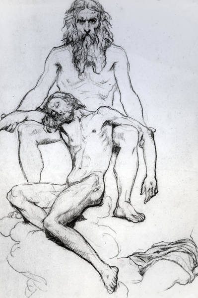 Gospel Drawing - God The Father And God The Son by Henri Lehmann