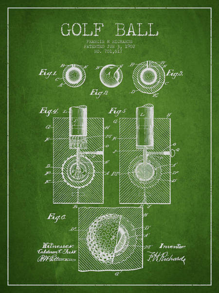 Wall Art - Digital Art - Golf Ball Patent Drawing From 1902 by Aged Pixel