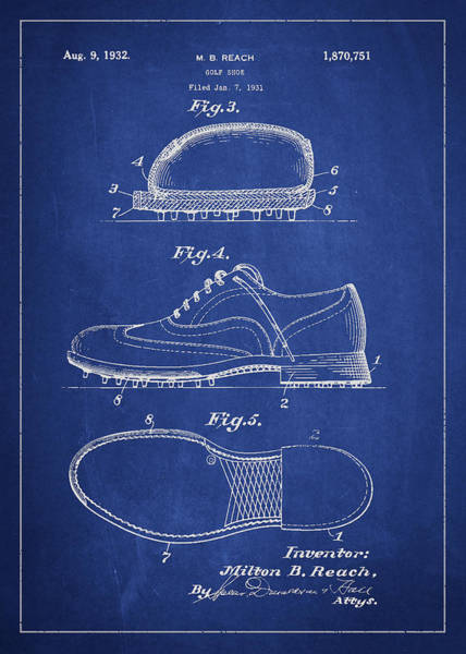 Sport Digital Art - Golf Shoe Patent Drawing From 1931 by Aged Pixel