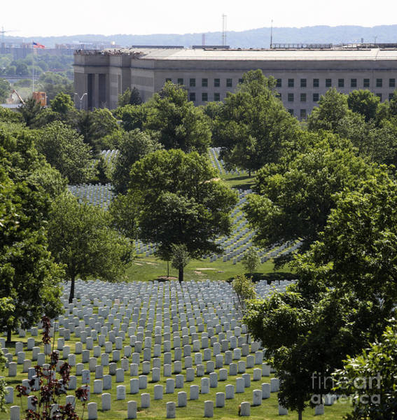 Photograph - Graves Of Arlington National Cemetery Roll Down To The Pentagon by William Kuta