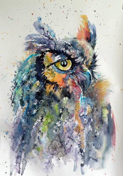 Owl Painting - Great Horned Owl by Kovacs Anna Brigitta