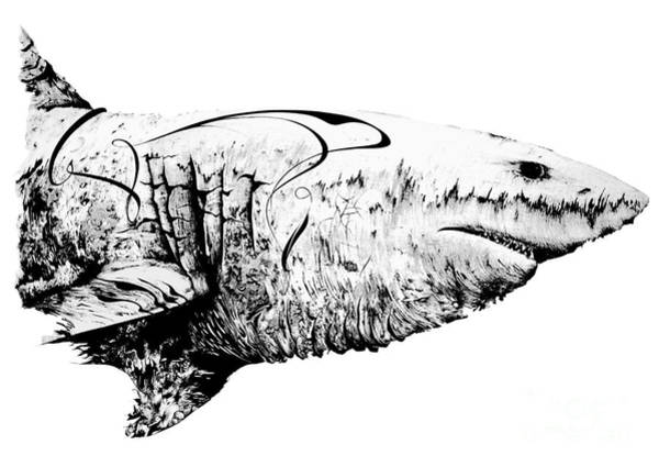 Stipple Drawing - Great White Mommy by Penelope Fedor