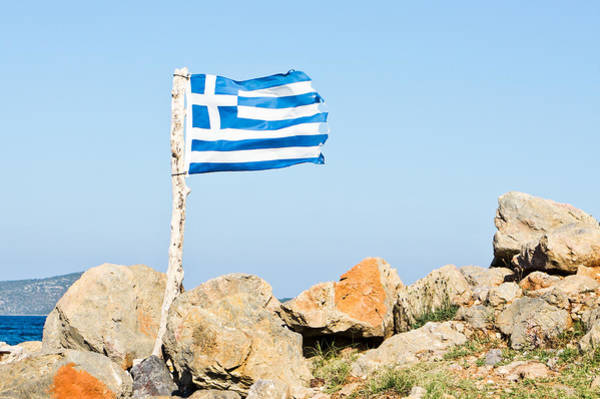 Cross Country Photograph - Greek Flag by Tom Gowanlock